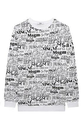 Детский хлопковый свитшот MSGM KIDS черно-белого цвета, арт. MS027914   Фото 1 (Материал внешний: Хлопок; Рукава: Длинные; Мальчики Кросс-КТ: Толстовка-одежда)