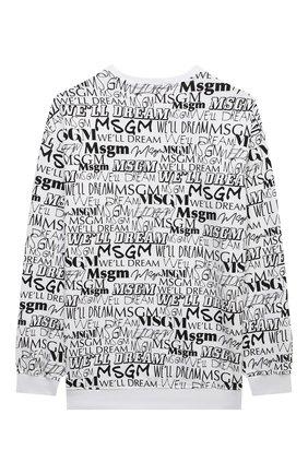 Детский хлопковый свитшот MSGM KIDS черно-белого цвета, арт. MS027914   Фото 2 (Материал внешний: Хлопок; Рукава: Длинные; Мальчики Кросс-КТ: Толстовка-одежда)