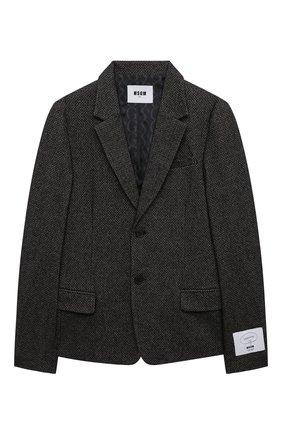 Детский пиджак из шерсти и хлопка MSGM KIDS темно-серого цвета, арт. MS027907   Фото 1 (Материал подклада: Синтетический материал; Материал внешний: Хлопок, Шерсть; Рукава: Длинные; Кросс-КТ: пиджак)