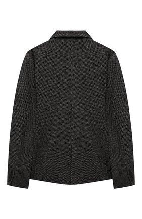 Детский пиджак из шерсти и хлопка MSGM KIDS темно-серого цвета, арт. MS027907   Фото 2 (Материал подклада: Синтетический материал; Материал внешний: Хлопок, Шерсть; Рукава: Длинные; Кросс-КТ: пиджак)