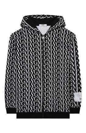 Детский хлопковая толстовка MSGM KIDS черно-белого цвета, арт. MS027905   Фото 1 (Материал внешний: Хлопок; Рукава: Длинные; Мальчики Кросс-КТ: Толстовка-одежда)