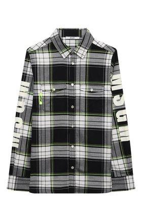 Детская хлопковая рубашка MSGM KIDS черно-белого цвета, арт. MS027902   Фото 1 (Материал внешний: Хлопок; Рукава: Длинные; Случай: Повседневный)
