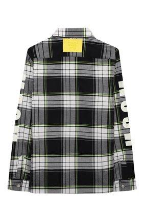 Детская хлопковая рубашка MSGM KIDS черно-белого цвета, арт. MS027902   Фото 2 (Материал внешний: Хлопок; Рукава: Длинные; Случай: Повседневный)