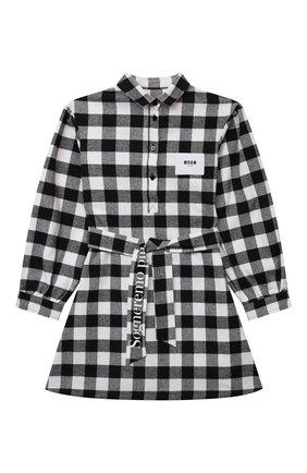 Детское хлопковое платье MSGM KIDS черно-белого цвета, арт. MS027859 | Фото 1 (Рукава: Длинные; Материал внешний: Синтетический материал, Хлопок)