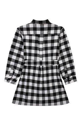Детское хлопковое платье MSGM KIDS черно-белого цвета, арт. MS027859 | Фото 2 (Рукава: Длинные; Материал внешний: Синтетический материал, Хлопок)
