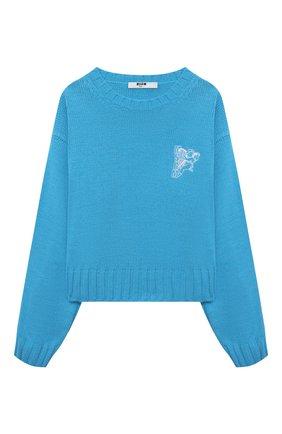Детский пуловер MSGM KIDS голубого цвета, арт. MS027822 | Фото 1 (Материал внешний: Синтетический материал; Рукава: Длинные)