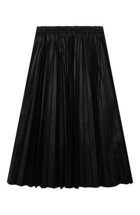 Детская юбка MSGM KIDS черного цвета, арт. MS027769 | Фото 2 (Материал внешний: Синтетический материал; Материал подклада: Хлопок)