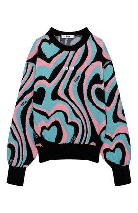 Детский пуловер MSGM KIDS разноцветного цвета, арт. MS027748 | Фото 1 (Рукава: Длинные; Материал внешний: Синтетический материал, Шерсть; Девочки Кросс-КТ: Пуловер-одежда)