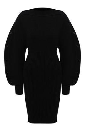 Женское шерстяное платье BOTTEGA VENETA черного цвета, арт. 677420/V1F50 | Фото 1 (Материал внешний: Шерсть; Рукава: Длинные; Длина Ж (юбки, платья, шорты): Мини, До колена; Случай: Повседневный; Кросс-КТ: Трикотаж; Стили: Бохо; Женское Кросс-КТ: Платье-одежда)