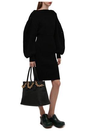 Женское шерстяное платье BOTTEGA VENETA черного цвета, арт. 677420/V1F50 | Фото 2 (Материал внешний: Шерсть; Рукава: Длинные; Длина Ж (юбки, платья, шорты): Мини, До колена; Случай: Повседневный; Кросс-КТ: Трикотаж; Стили: Бохо; Женское Кросс-КТ: Платье-одежда)