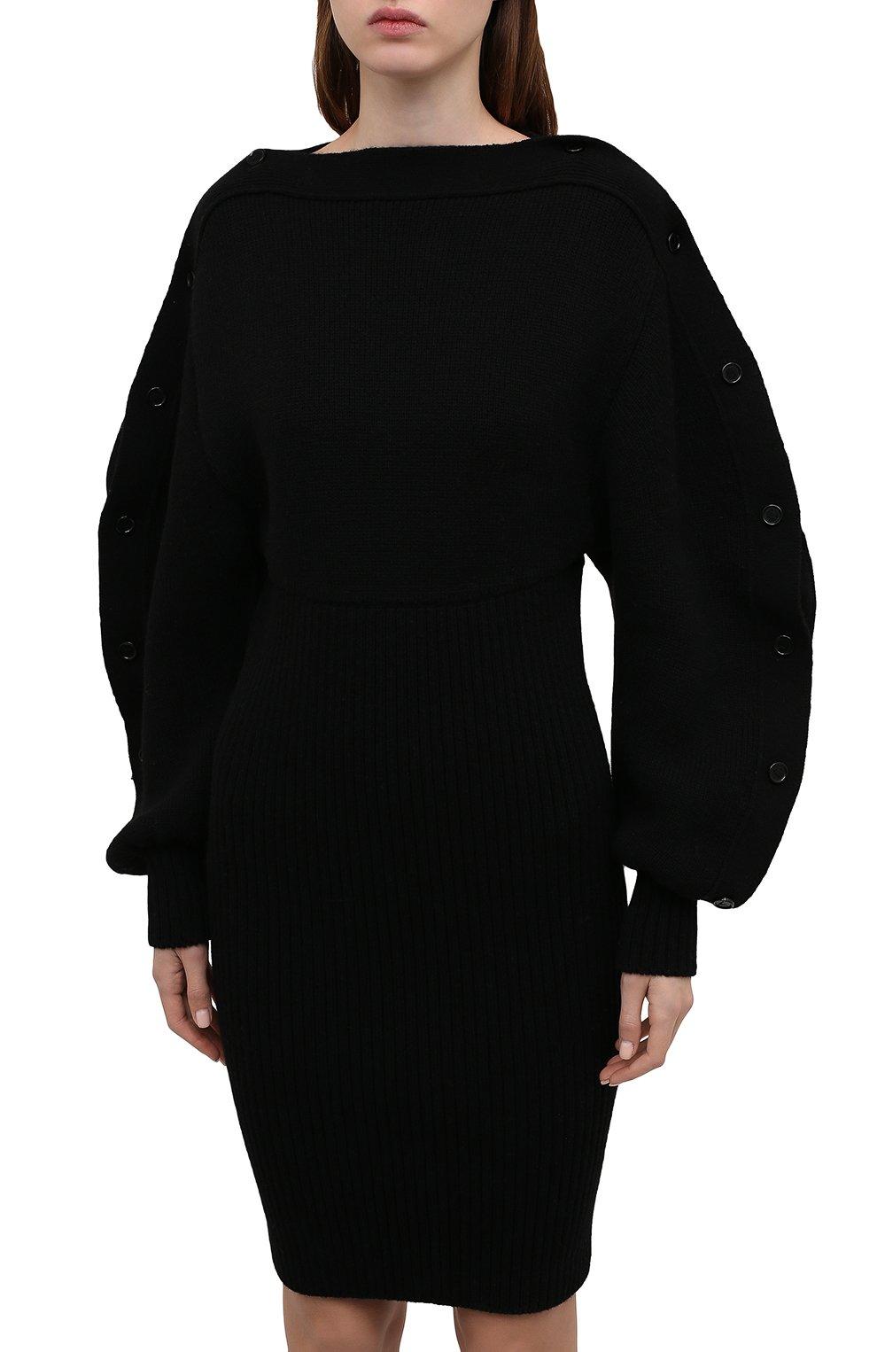 Женское шерстяное платье BOTTEGA VENETA черного цвета, арт. 677420/V1F50 | Фото 3 (Материал внешний: Шерсть; Рукава: Длинные; Длина Ж (юбки, платья, шорты): Мини, До колена; Случай: Повседневный; Кросс-КТ: Трикотаж; Стили: Бохо; Женское Кросс-КТ: Платье-одежда)