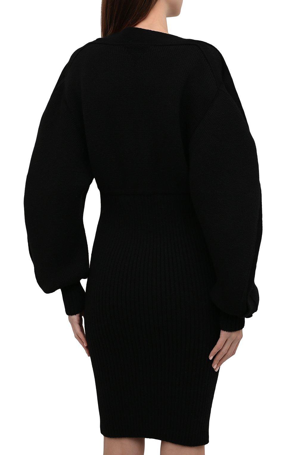 Женское шерстяное платье BOTTEGA VENETA черного цвета, арт. 677420/V1F50 | Фото 4 (Материал внешний: Шерсть; Рукава: Длинные; Длина Ж (юбки, платья, шорты): Мини, До колена; Случай: Повседневный; Кросс-КТ: Трикотаж; Стили: Бохо; Женское Кросс-КТ: Платье-одежда)