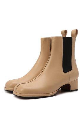 Женские кожаные ботильоны square toe MANU ATELIER бежевого цвета, арт. 2021317 | Фото 1 (Подошва: Плоская; Материал внутренний: Натуральная кожа; Каблук высота: Низкий; Каблук тип: Устойчивый)