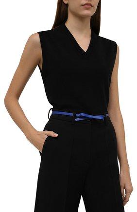 Женский кожаный ремень REDVALENTINO синего цвета, арт. WQ0T0A73/MEN   Фото 2 (Кросс-КТ: Тонкие)