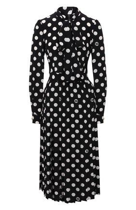 Женское шелковое платье DOLCE & GABBANA черно-белого цвета, арт. F6R2ST/IS1I8 | Фото 1 (Рукава: Длинные; Материал внешний: Шелк; Стили: Романтичный; Случай: Вечерний; Женское Кросс-КТ: Платье-одежда; Длина Ж (юбки, платья, шорты): До колена)