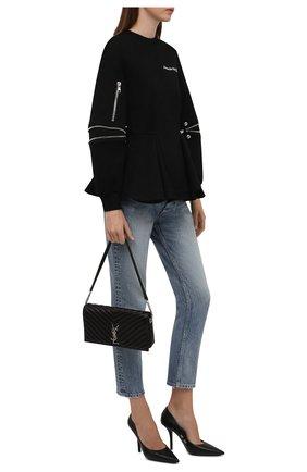Женский пуловер ALEXANDER MCQUEEN черного цвета, арт. 676980/QLAA8 | Фото 2 (Материал внешний: Синтетический материал, Хлопок; Рукава: Длинные; Длина (для топов): Стандартные; Стили: Гламурный; Женское Кросс-КТ: Пуловер-одежда)