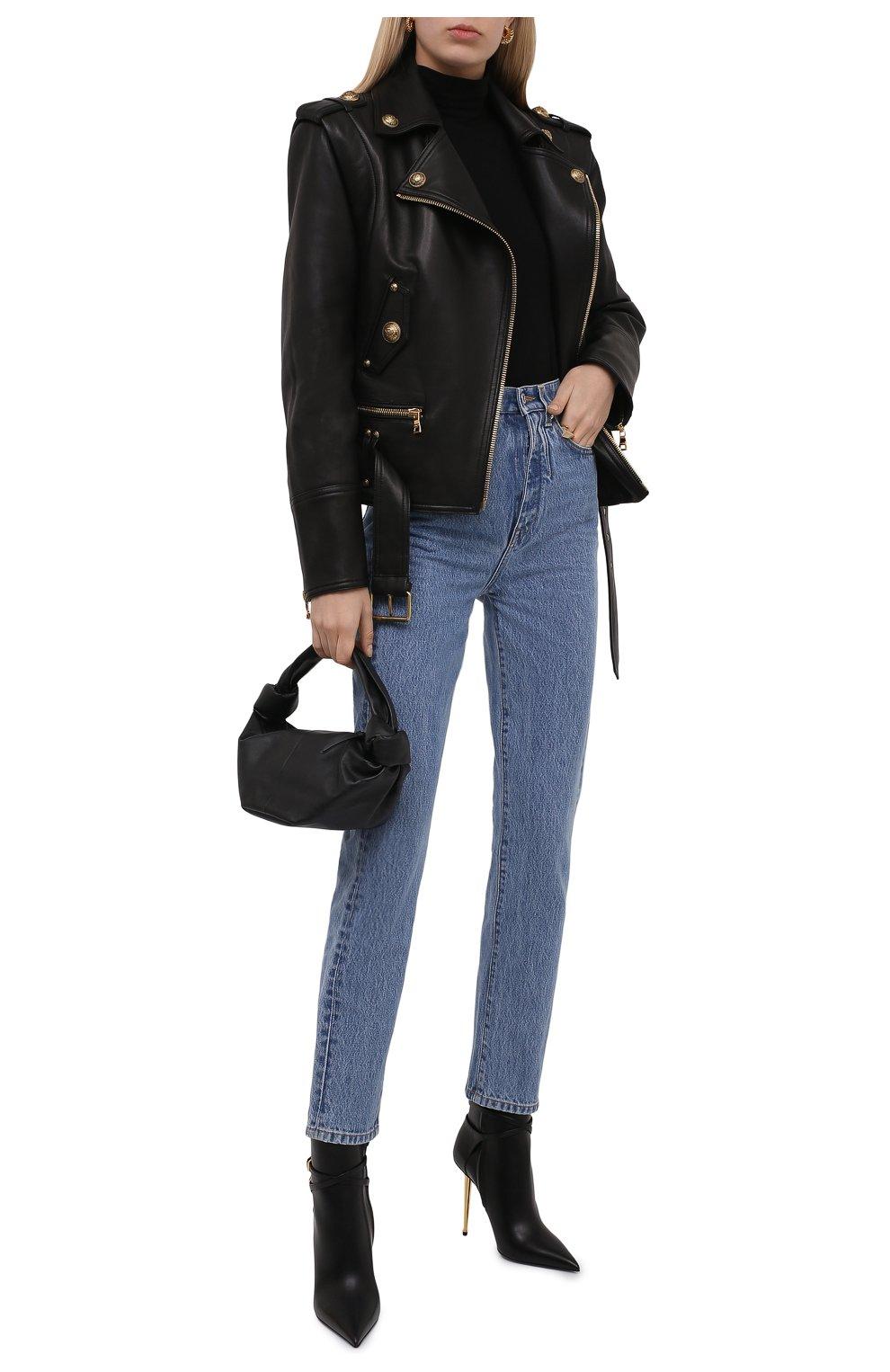 Женские кожаные ботильоны TOM FORD черного цвета, арт. W2959T-LCL002 | Фото 2 (Каблук высота: Высокий; Материал внутренний: Натуральная кожа; Каблук тип: Шпилька; Подошва: Плоская)