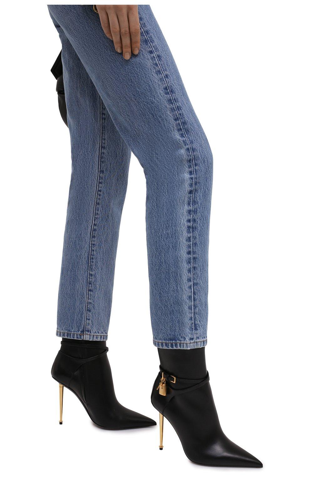 Женские кожаные ботильоны TOM FORD черного цвета, арт. W2959T-LCL002 | Фото 3 (Каблук высота: Высокий; Материал внутренний: Натуральная кожа; Каблук тип: Шпилька; Подошва: Плоская)