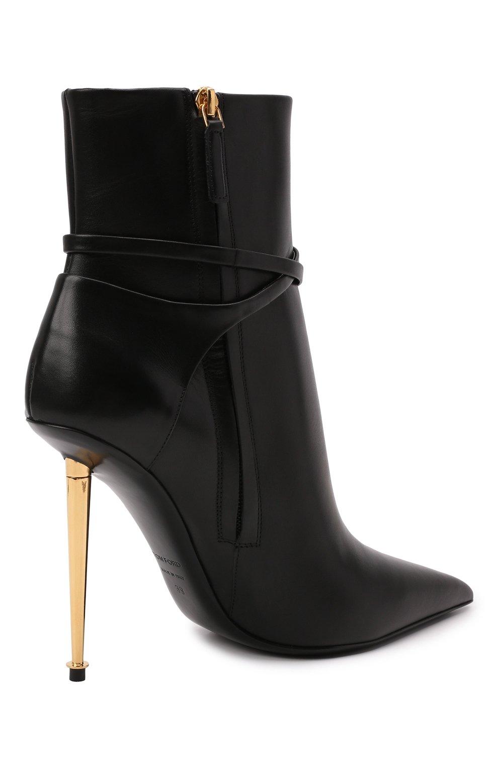 Женские кожаные ботильоны TOM FORD черного цвета, арт. W2959T-LCL002 | Фото 5 (Каблук высота: Высокий; Материал внутренний: Натуральная кожа; Каблук тип: Шпилька; Подошва: Плоская)
