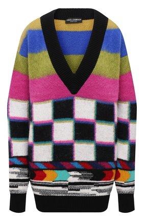 Женский свитер DOLCE & GABBANA разноцветного цвета, арт. FXE67T/JCMN4 | Фото 1 (Материал внешний: Шерсть, Кашемир; Длина (для топов): Удлиненные; Рукава: Длинные; Стили: Кэжуэл; Женское Кросс-КТ: Свитер-одежда)