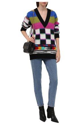 Женский свитер DOLCE & GABBANA разноцветного цвета, арт. FXE67T/JCMN4 | Фото 2 (Материал внешний: Шерсть, Кашемир; Длина (для топов): Удлиненные; Рукава: Длинные; Стили: Кэжуэл; Женское Кросс-КТ: Свитер-одежда)