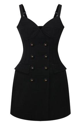 Женское шерстяное платье DOLCE & GABBANA черного цвета, арт. F6Z4UT/FUCEG | Фото 1 (Материал подклада: Шелк; Длина Ж (юбки, платья, шорты): Мини; Материал внешний: Шерсть; Стили: Гламурный; Случай: Вечерний; Женское Кросс-КТ: Платье-одежда)