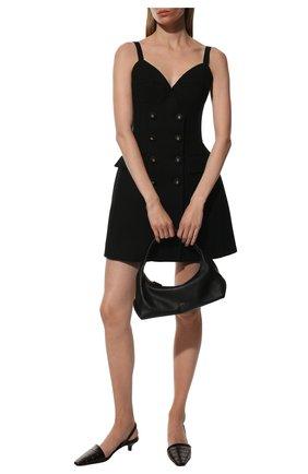 Женское шерстяное платье DOLCE & GABBANA черного цвета, арт. F6Z4UT/FUCEG | Фото 2 (Материал подклада: Шелк; Длина Ж (юбки, платья, шорты): Мини; Материал внешний: Шерсть; Стили: Гламурный; Случай: Вечерний; Женское Кросс-КТ: Платье-одежда)