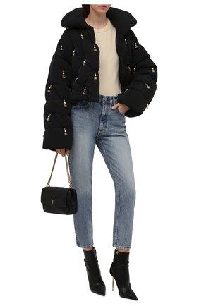 Женская пуховая куртка DOLCE & GABBANA черного цвета, арт. F9J22Z/G7YZW | Фото 2 (Материал утеплителя: Пух и перо; Материал подклада: Синтетический материал; Длина (верхняя одежда): Короткие; Рукава: Длинные; Материал внешний: Синтетический материал; Стили: Гламурный; Кросс-КТ: Куртка; Женское Кросс-КТ: Пуховик-куртка)