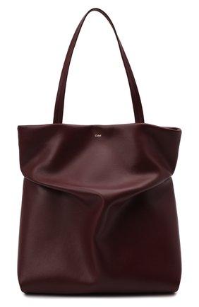 Женский сумка-тоут judy CHLOÉ бордового цвета, арт. CHC21WS280F16   Фото 1 (Материал: Натуральная кожа; Сумки-технические: Сумки-шопперы; Размер: large)