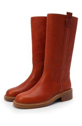 Женские кожаные сапоги edith CHLOÉ красного цвета, арт. CHC21W52079   Фото 1 (Материал внутренний: Натуральная кожа; Каблук тип: Устойчивый; Высота голенища: Высокие, Средние; Каблук высота: Низкий; Подошва: Платформа)