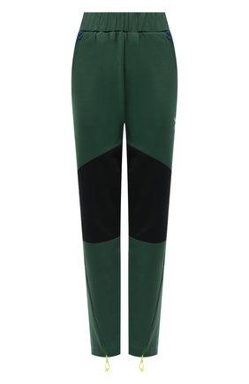 Женские брюки KENZO зеленого цвета, арт. FB62PA7344IU   Фото 1 (Длина (брюки, джинсы): Стандартные; Материал внешний: Хлопок, Синтетический материал; Стили: Спорт-шик; Женское Кросс-КТ: Брюки-одежда; Силуэт Ж (брюки и джинсы): Прямые)