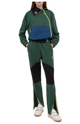 Женские брюки KENZO зеленого цвета, арт. FB62PA7344IU   Фото 2 (Длина (брюки, джинсы): Стандартные; Материал внешний: Хлопок, Синтетический материал; Стили: Спорт-шик; Женское Кросс-КТ: Брюки-одежда; Силуэт Ж (брюки и джинсы): Прямые)