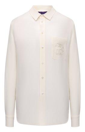 Женская шелковая рубашка RALPH LAUREN белого цвета, арт. 290856605 | Фото 1 (Рукава: Длинные; Длина (для топов): Стандартные; Материал внешний: Шелк; Стили: Кэжуэл; Принт: Без принта; Женское Кросс-КТ: Рубашка-одежда)
