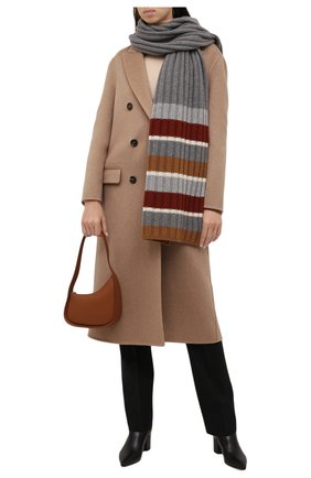Женский кашемировый шарф LORO PIANA светло-серого цвета, арт. FAL6080 | Фото 2 (Материал: Шерсть, Кашемир)