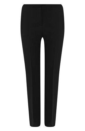 Женские шерстяные брюки VERSACE черного цвета, арт. 1001729/1A01798   Фото 1 (Материал внешний: Шерсть; Длина (брюки, джинсы): Стандартные; Стили: Кэжуэл; Женское Кросс-КТ: Брюки-одежда; Силуэт Ж (брюки и джинсы): Прямые)