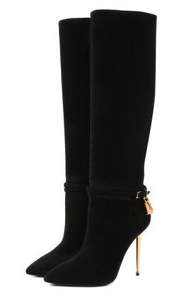 Женские замшевые сапоги TOM FORD черного цвета, арт. W2529T-LCL071 | Фото 1 (Материал внутренний: Натуральная кожа; Каблук тип: Шпилька; Высота голенища: Высокие, Средние; Каблук высота: Высокий; Подошва: Плоская)