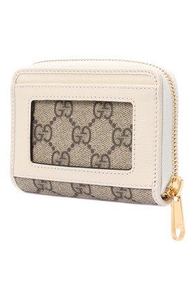 Женский футляр для кредитных карт GUCCI белого цвета, арт. 658549/92TCG | Фото 2 (Материал: Синтетический материал, Текстиль)