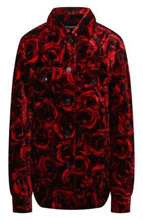 Женская куртка из вискозы и шелка DRIES VAN NOTEN красного цвета, арт. 212-010522-3501 | Фото 1 (Длина (верхняя одежда): Короткие; Материал внешний: Вискоза; Рукава: Длинные; Стили: Гламурный; Кросс-КТ: Куртка)