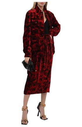 Женская куртка из вискозы и шелка DRIES VAN NOTEN красного цвета, арт. 212-010522-3501 | Фото 2 (Длина (верхняя одежда): Короткие; Материал внешний: Вискоза; Рукава: Длинные; Стили: Гламурный; Кросс-КТ: Куртка)