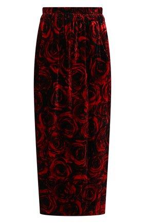 Женская юбка из вискозы и шелка DRIES VAN NOTEN красного цвета, арт. 212-010867-3007 | Фото 1 (Материал внешний: Вискоза; Материал подклада: Вискоза; Длина Ж (юбки, платья, шорты): Миди; Стили: Гламурный; Женское Кросс-КТ: Юбка-одежда)