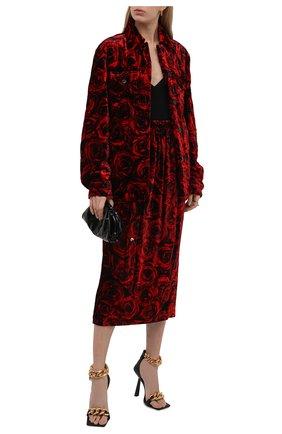 Женская юбка из вискозы и шелка DRIES VAN NOTEN красного цвета, арт. 212-010867-3007 | Фото 2 (Материал внешний: Вискоза; Материал подклада: Вискоза; Длина Ж (юбки, платья, шорты): Миди; Стили: Гламурный; Женское Кросс-КТ: Юбка-одежда)