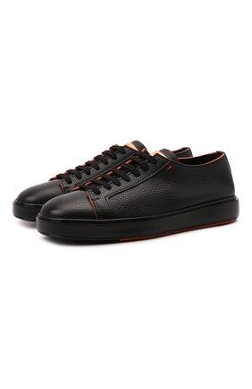 Мужские кожаные кеды SANTONI черного цвета, арт. MBCD21574LNANMXDN01 | Фото 1 (Подошва: Массивная; Материал внутренний: Натуральная кожа)