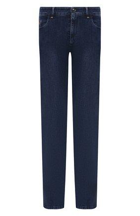 Мужские джинсы ZILLI синего цвета, арт. MCW-00060-DBLU1/R001   Фото 1 (Длина (брюки, джинсы): Стандартные; Материал внешний: Хлопок; Кросс-КТ: Деним; Силуэт М (брюки): Прямые; Стили: Классический)