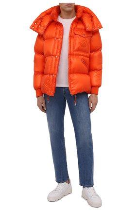 Мужская пуховая куртка lamentin MONCLER оранжевого цвета, арт. G2-091-1A001-61-539WF | Фото 2 (Рукава: Длинные; Материал утеплителя: Пух и перо; Длина (верхняя одежда): Короткие; Материал подклада: Синтетический материал; Материал внешний: Синтетический материал; Мужское Кросс-КТ: пуховик-короткий; Кросс-КТ: Куртка; Стили: Спорт-шик)