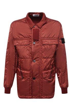 Мужская утепленная куртка STONE ISLAND красного цвета, арт. 751543521   Фото 1 (Рукава: Длинные; Материал внешний: Синтетический материал; Материал подклада: Синтетический материал; Кросс-КТ: Куртка; Мужское Кросс-КТ: утепленные куртки; Стили: Кэжуэл; Длина (верхняя одежда): До середины бедра)