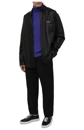Мужской шерстяной свитер STONE ISLAND фиолетового цвета, арт. 7515525C2   Фото 2 (Материал внешний: Шерсть; Мужское Кросс-КТ: Свитер-одежда; Длина (для топов): Стандартные; Рукава: Длинные; Стили: Кэжуэл; Принт: Без принта)