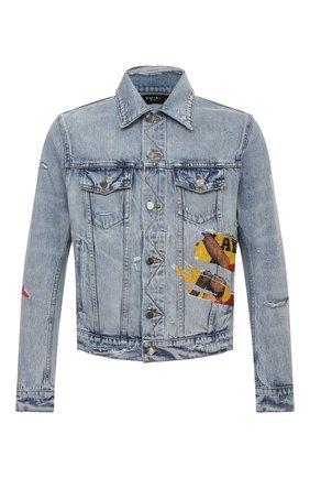 Мужская джинсовая куртка AMIRI голубого цвета, арт. MDT012-489   Фото 1 (Материал внешний: Хлопок; Рукава: Длинные; Длина (верхняя одежда): Короткие; Кросс-КТ: Куртка, Деним; Стили: Гранж)