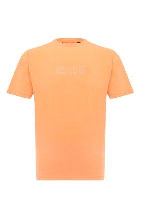 Мужская хлопковая футболка PALM ANGELS оранжевого цвета, арт. PMAA001F21JER0096601 | Фото 1 (Рукава: Короткие; Материал внешний: Хлопок; Длина (для топов): Стандартные; Принт: С принтом; Стили: Спорт-шик)
