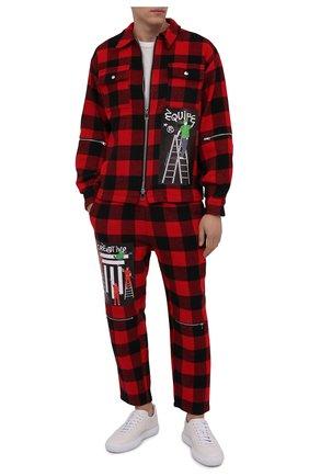 Мужская куртка DIEGO VENTURINO красного цвета, арт. FW21-DV CMC FZ-REDECF   Фото 2 (Материал внешний: Синтетический материал; Кросс-КТ: Куртка, Ветровка; Рукава: Длинные; Длина (верхняя одежда): Короткие; Стили: Гранж)