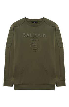 Детский хлопковый свитшот BALMAIN хаки цвета, арт. 6P4650 | Фото 1 (Рукава: Длинные; Материал внешний: Хлопок; Мальчики Кросс-КТ: Толстовка-одежда)